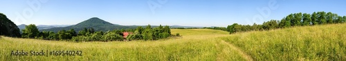 Fotobehang Honing Panoramatic view of meadows and forests in Czech Switzerland