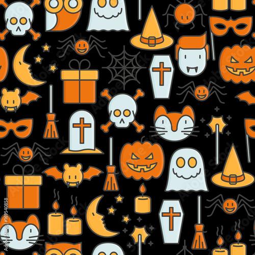 Materiał do szycia Cartoon Halloween seamless pattern with thin line icons: vampire, bat, pumpkin. Vector illustration for invitation card, party announcement.