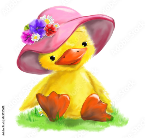 illustrated cute duck with hat flowers sitting on grass
