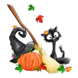 illustrated halloween black cat whisk witch hat pumpkin