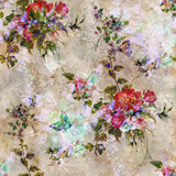 Watercolor painting of leaf and flowers, seamless pattern - 169560476