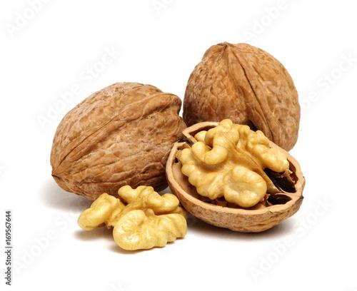 Leinwandbild Motiv cracked walnut on white