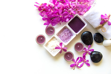 Thai Spa Treatments aroma therapy  salt and sugar scrub and rock massage with orchid flower on wooden white.  Healthy Concept. copy space,select and soft focus