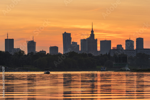 Sunset over Warsaw city