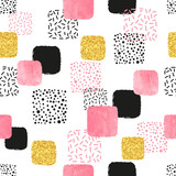 Seamless pattern with pink, black and golden squares. Vector abstract background with geometric shapes. - 169578881