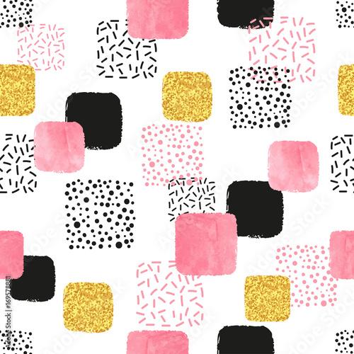 wzor-z-rozowe-czarne-i-zlote-kwadraty-wektorowy-abstrakcjonistyczny-tlo-z-geometrycznymi-ksztaltami