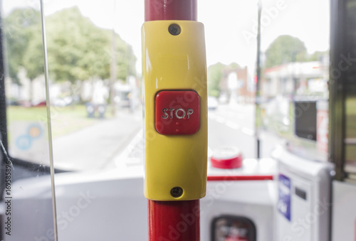 Poster Stop button on a public bus