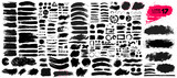 Fototapety Big collection of black paint, ink brush strokes, brushes, lines, grungy. Dirty artistic design elements, boxes, frames. Vector illustration. Isolated on white background. Freehand drawing.