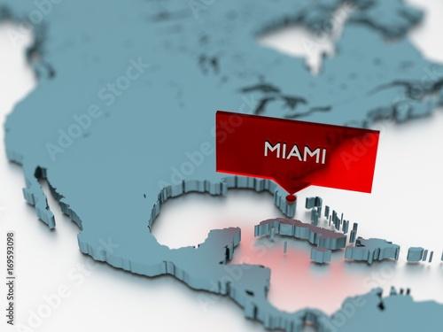 3d world map sticker - City of Miami