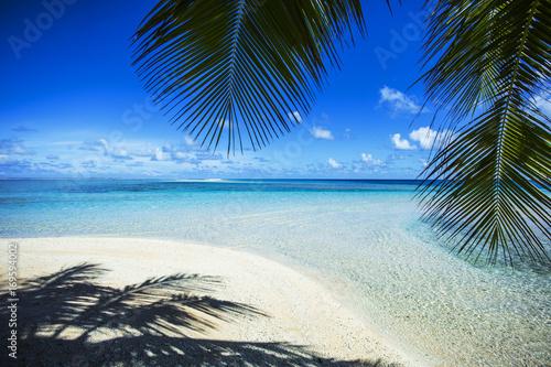 krajobraz plaży raj na tahiti, polinezja