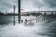 Water coming over road in Kemah Texas During Hurricane Harvey