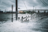 Water coming over road in Kemah Texas During Hurricane Harvey  - 169595038
