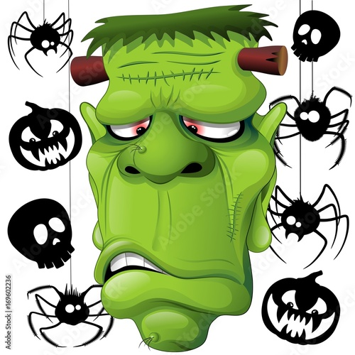 Tuinposter Draw Frankenstein Spiders Skulls and Pumpkins