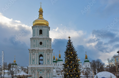 Foto op Plexiglas Kiev Saint Sophia Cathedral in Kiev, Ukraine. Christmas time.