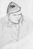 Portrait of a man with a newspaper. Pencil drawing - 169608498