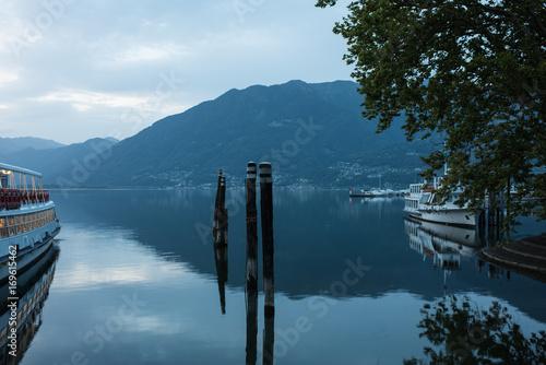 Fotobehang Pier Lake Maggiore at morning light in locarno switzerland
