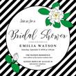 Bridal shower invitation card template with hand drawn gardenia flowers and diagonal black stripes. Trendy modern design for wedding