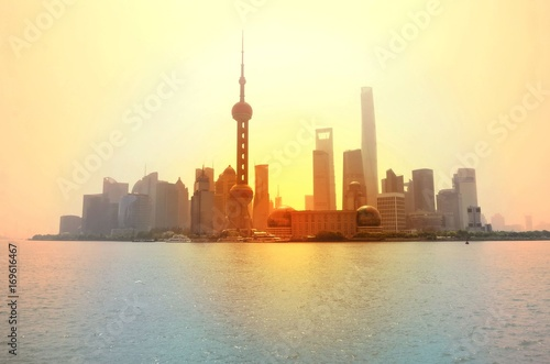 Sunrise view of Shanghai from Bund Poster