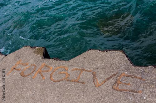Poster Chicago Forgive in Stein gemeißelt - Ufer des Lake Michigan, Chicago