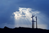 Three crosses over bright cloudy sky - 169636202