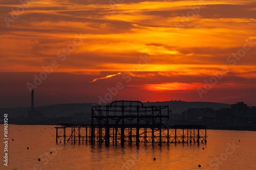 In de dag Oranje eclat Brighton sunset over West Pier