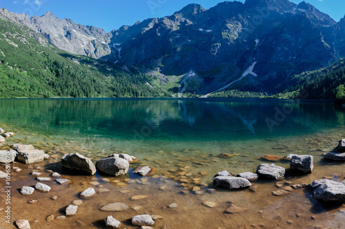 Fotobehang Nachtblauw National Park. Travel in the mountains. Tatra Sea eye.