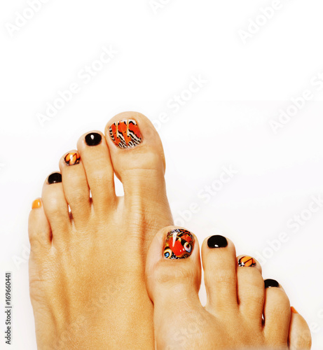 Fotobehang Pedicure pedicure with butterfly design isolated on white