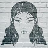 Street art. Visage de femme grunge - 169663221