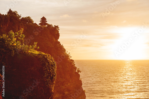 Plexiglas Bali Sunset at Pura Luhur Uluwatu. Bali island, Indonesia.