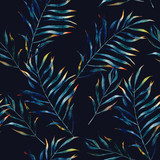 Watercolor exotic seamless pattern, green tropical leaves, botanical summer illustration on black background - 169665899