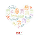Heart background with sushi and rolls. Japanese traditional cuisine illustration. © Drekhann