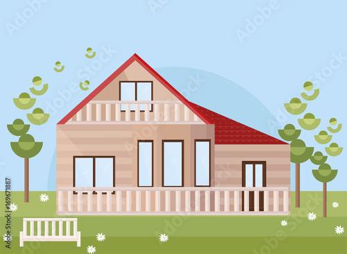 Fotobehang Boerderij Wood house with garden. Vector facade flat style