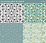 Retro Geometric Patterns, stars. Four different versions of a seamless pattern fill with retro-looking geometric motifs.