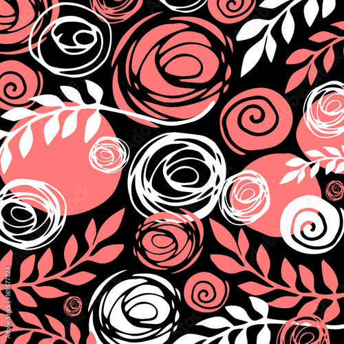 Flower art illustration pattern bloom beauty green. Background and texture. - 169677824