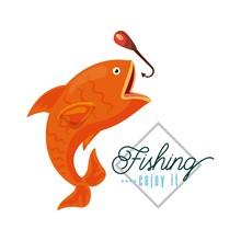 Fishing Enjoy It Icon  Illustration Design Graphic Sticker