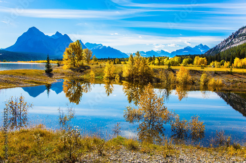 Foto op Plexiglas Canada The artificial Abraham lake reflects trees