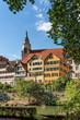 canvas print picture - Stiftskirche Sankt Georg Neckar Fluss Tübingen
