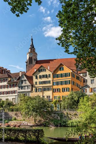 canvas print picture Stiftskirche Sankt Georg Neckar Fluss Tübingen