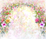 Abstract colorful flowers watercolor painting. Spring multicolored in .nature - 169697001