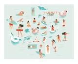 Hand drawn vector abstract cartoon summer time fun big swimming people group collection illustrations set isolated on blue ocean waves. - 169697021