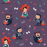 Halloween kids seamless pattern. Trick or treat background. Vector illustration