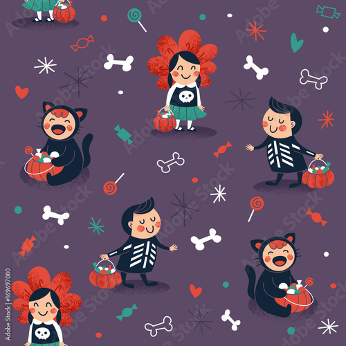 Cotton fabric Halloween kids seamless pattern. Trick or treat background. Vector illustration