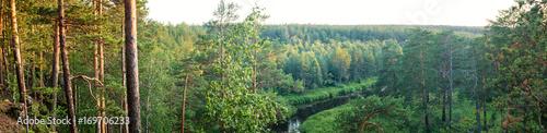 Plexiglas Berkenbos панорама лесного пейзажа с лесом, рекой и скалистым берегом, Россия, Урал, август