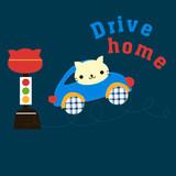 illustrated cat driving