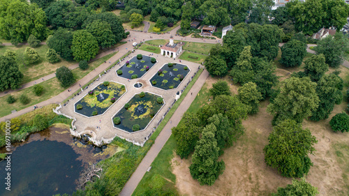 Aerial view of the Italians gardens in Hyde park in London