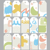 15 gift tags with pastel hand drawn shape - vector set