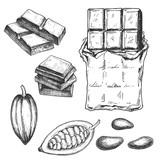 Hand drawn chocolate bar and cacao beans, black and white draft sketch isolated on white background. Vintage vector food illustration. - 169742425