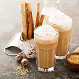 Fototapety Coffee latte or cappuccino with spices