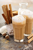 Coffee latte or cappuccino with spices