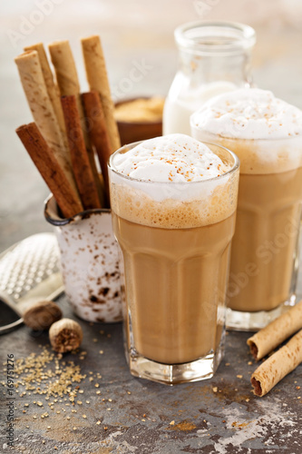 Poster Coffee latte or cappuccino with spices
